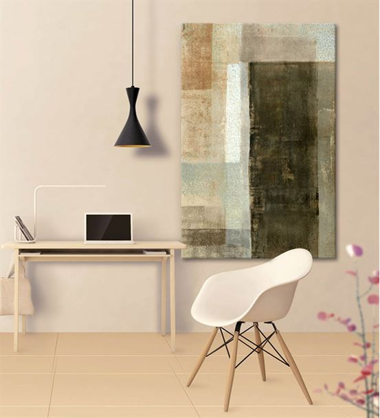 Soyut Yeşil Dikey Kanvas Tablo 75x100cm