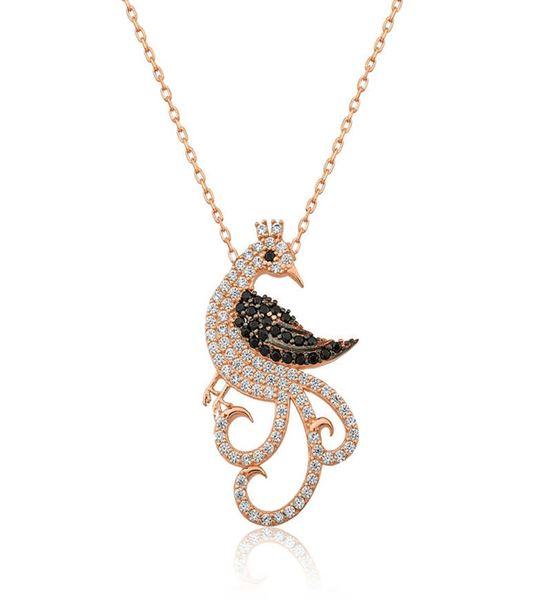 Tavus Kuşu Tasarımlı Bayan Kolye