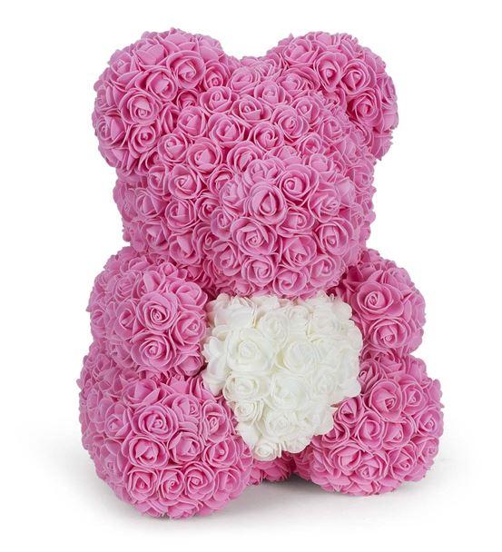 Teddy Bear Rose Beyaz Kalpli Solmayan Gül