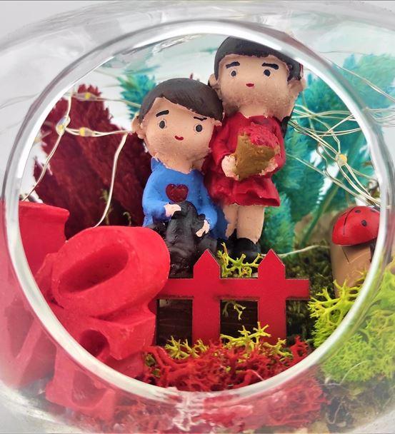 Teraryum Love Yazlı Işklı Çift Yıl Dönüm-Ebame0114