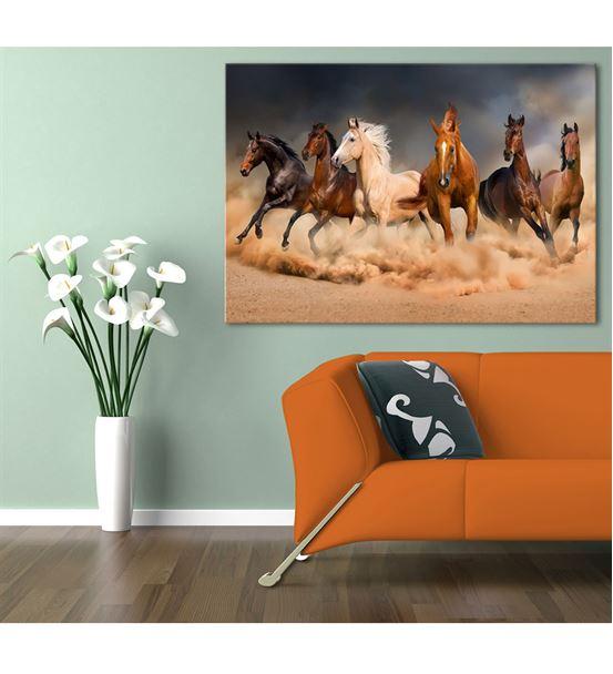 Toz Bulutunda Koşan Atlar Kanvas Tablo 60x90cm