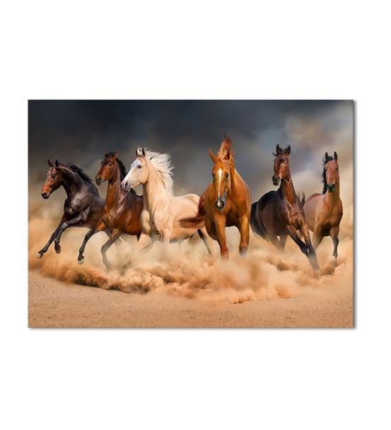 Toz Bulutunda Koşan Atlar Kanvas Tablo 75x100cm