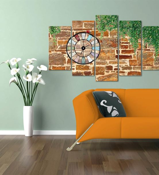 Tuğla Duvar Temalı 5 Parça Saat'li Kanvas Tablo