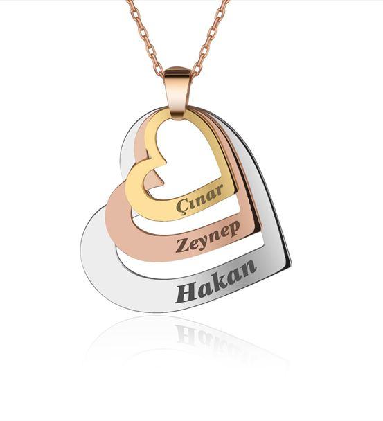 Üç İsimli Kişiye Özel Kalpler Gümüş Kolye