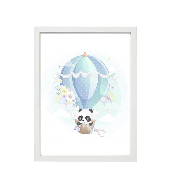 Uçan Balonda Panda Tekli Çerçeve Seti