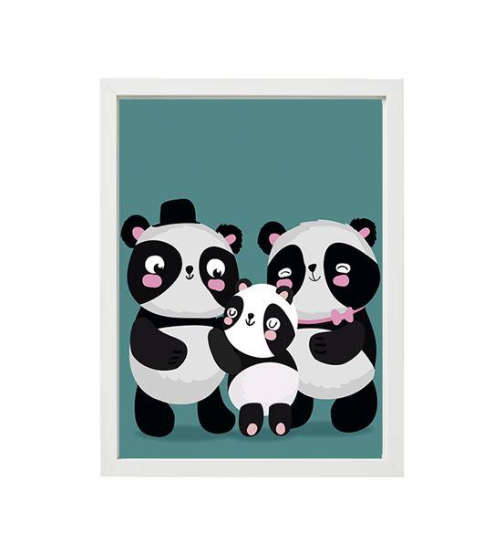 Üçlü Panda Tekli Çerçeve Seti