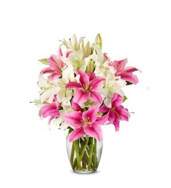 Vazoda Beyaz Pembe Lilyumlar
