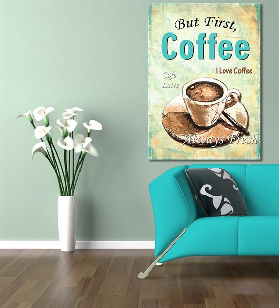 Vintage Coffee Latte Kanvas Tablo 60x90cm