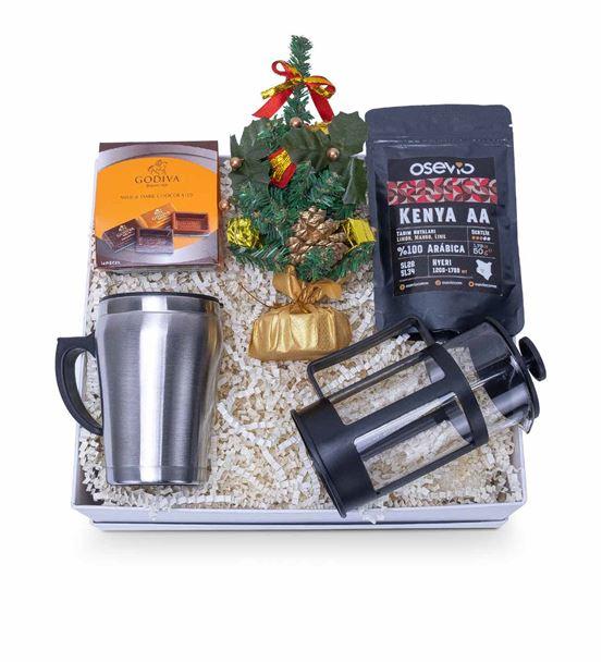 Yılbaşı Süs Ağacı Çelik Termos Kahve Hediye Kutusu