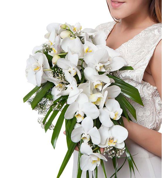 Zarafetin Simgesi Beyaz Orkide Gelin Buketi Çiçeği