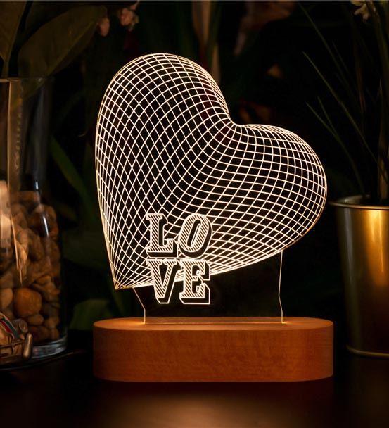 3 Boyutlu Love Yazılı Led Lamba