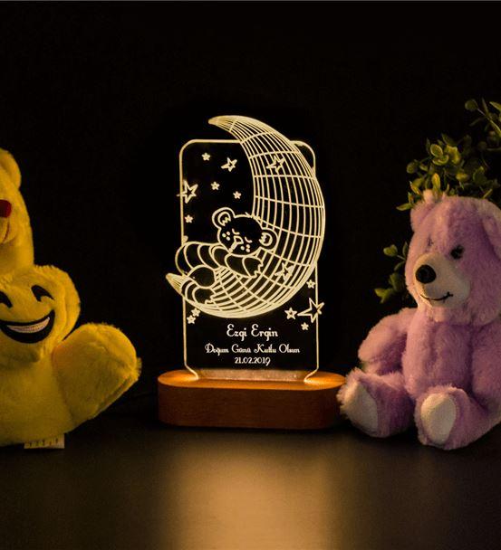Çocuk Odası için Hediyelik İsimli 3d Led Gece Lamb