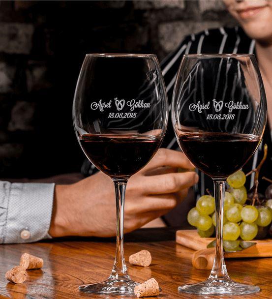 Düğün & Yıldönümü Hediyesi Toscana Şarap Kadeh Set