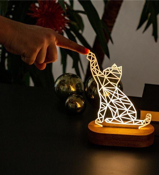 Geometrik Kedi Tasarımlı Led Lamba