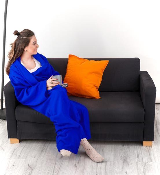 Giyilebilir Kollu Mavi Polar Battaniye