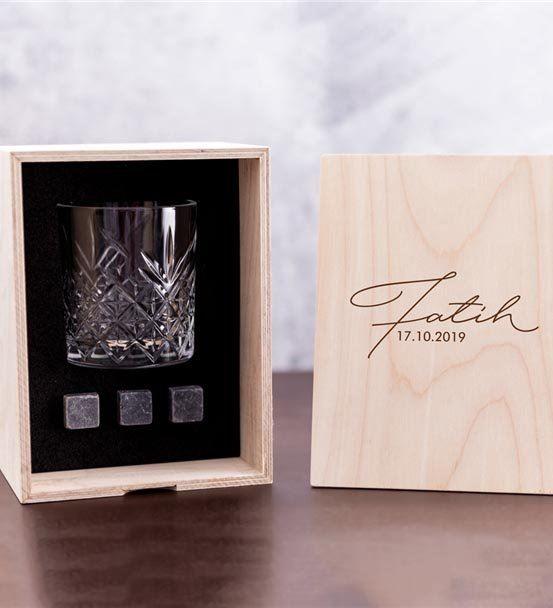 İmza Tasarımlı Ahşap Kutulu London Viski Kadeh Set