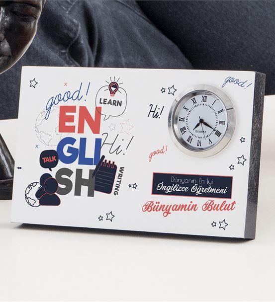 İngilizce Öğretmenine Hediye Mesaj Yazılı Saatli Ç