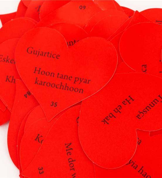 Kalp Kutulu 100 Dilde Seni Seviyorum Mesaj Kartlar