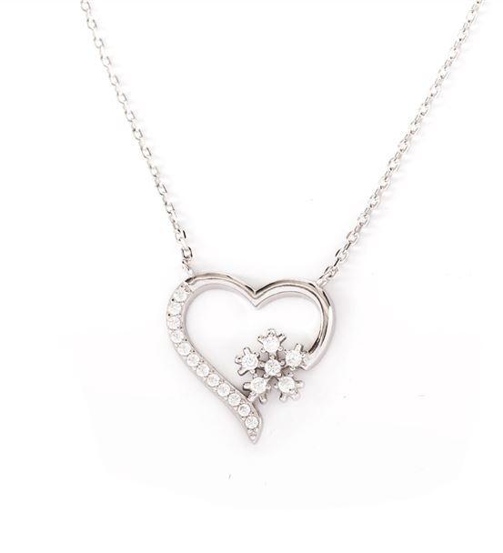 Kar Tanesi Gümüş Kolyeli Kalp Kutulu Sepet
