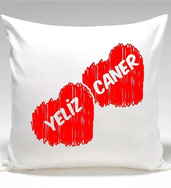 Kırmızı Kalpli İsim Yazılı Yastık