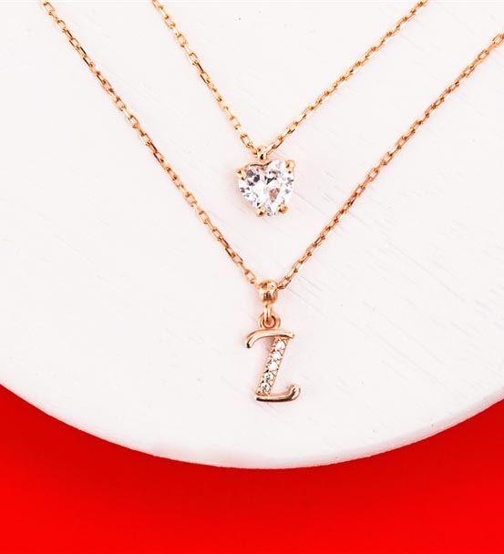 Kişiye Özel Hafli Kalp Taş Çift Zincir Gümüş Kolye