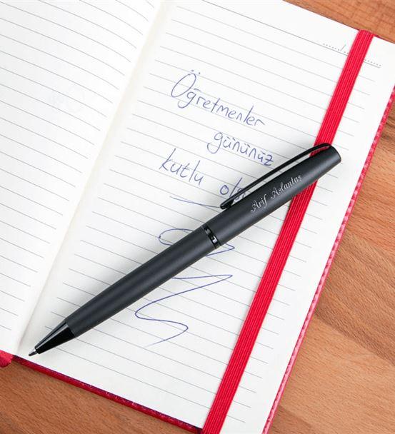 Kişiye Özel Mat Siyah Tükenmez Kalem