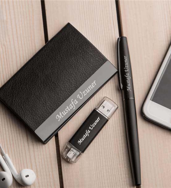 Kişiye Özel USB Kalem Kartvizitlik Seti