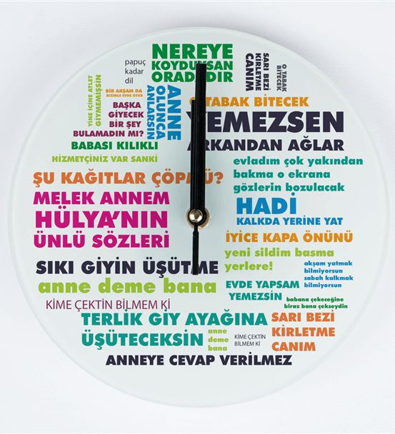 Klasik Anne Sözleri Tasarımlı Cam Duvar Saati