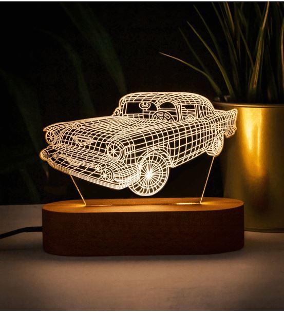 Klasik Araba Modelli 3 Boyutlu Led Lamba