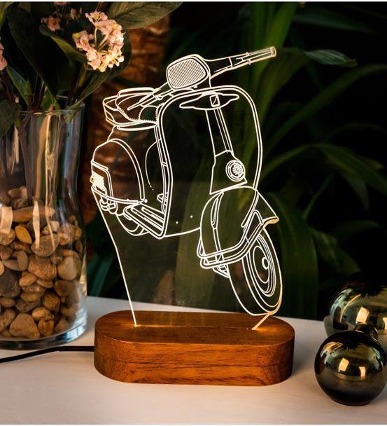 Klasik Scooter Motorbisiklet Tasarımlı 3D Led Lamb