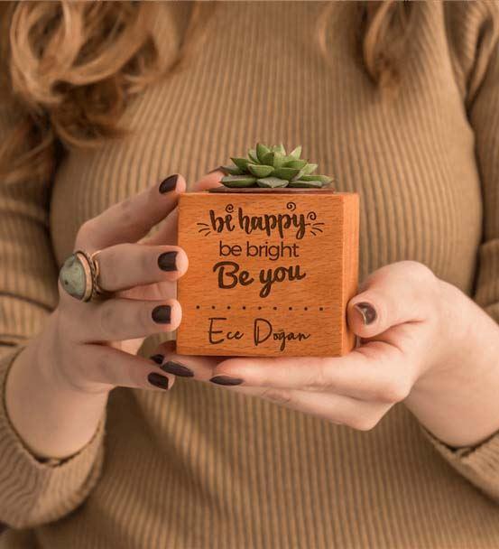 Motivasyon Mesajlı İsme Özel Hediye Sukulent Natur