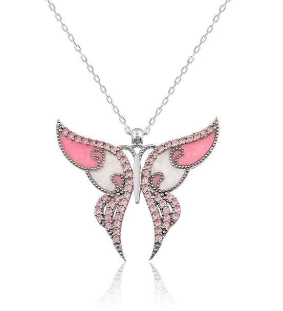 Pembe Kanatlı Süslü Gümüş Kelebek Kolye