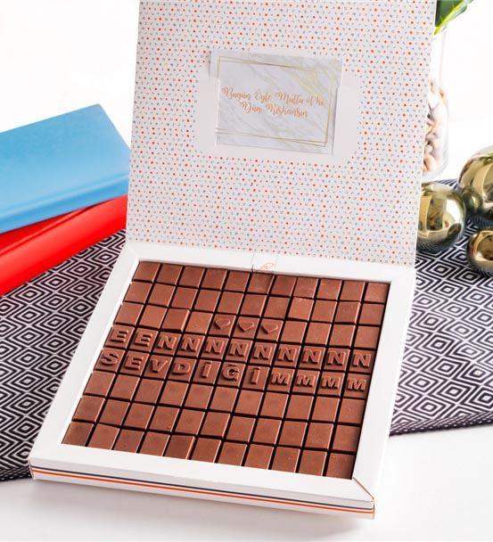Sevgiliye Hediye En Sevdiğim Mesajlı Harf Çikolata