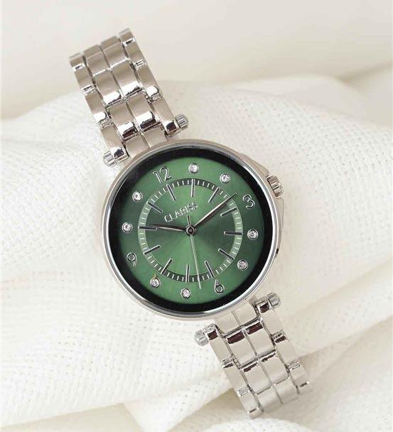 Silver Renk Metal Kordonlu Yeşil Renk Taşlı İç Tas