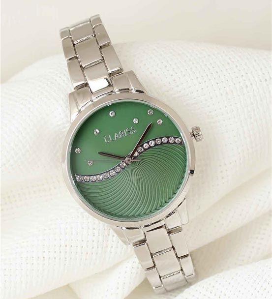 Silver Renk Metal Kordonlu Yeşil Renk Zirkon Taşlı