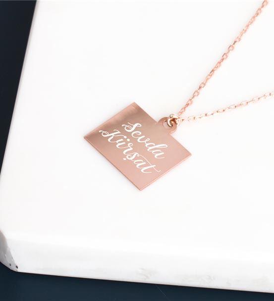 Sonsuz Aşk Tasarımlı İsim İşlemeli Rose Gümüş Koly