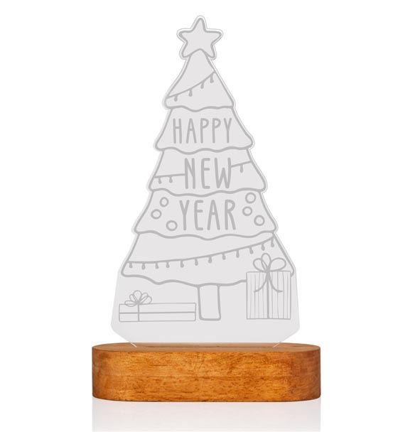 Yılbaşı Ağacı Happy New Year 3D Led Lamba